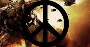 Campo di battaglia con simbolo della pace che lo sovrasta