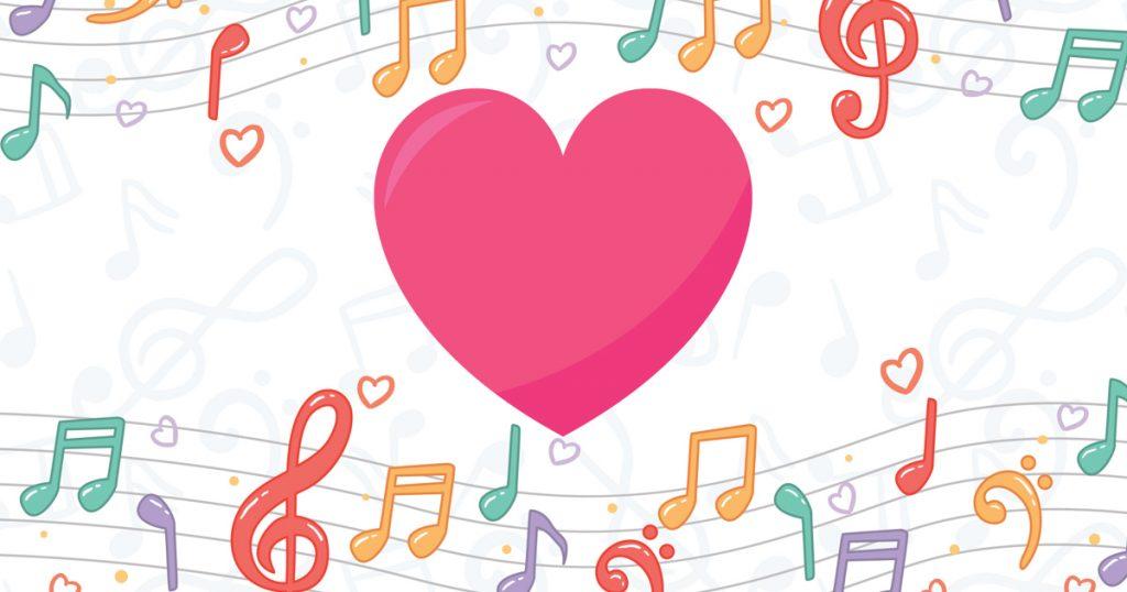 Note musicali su spartito con cuore