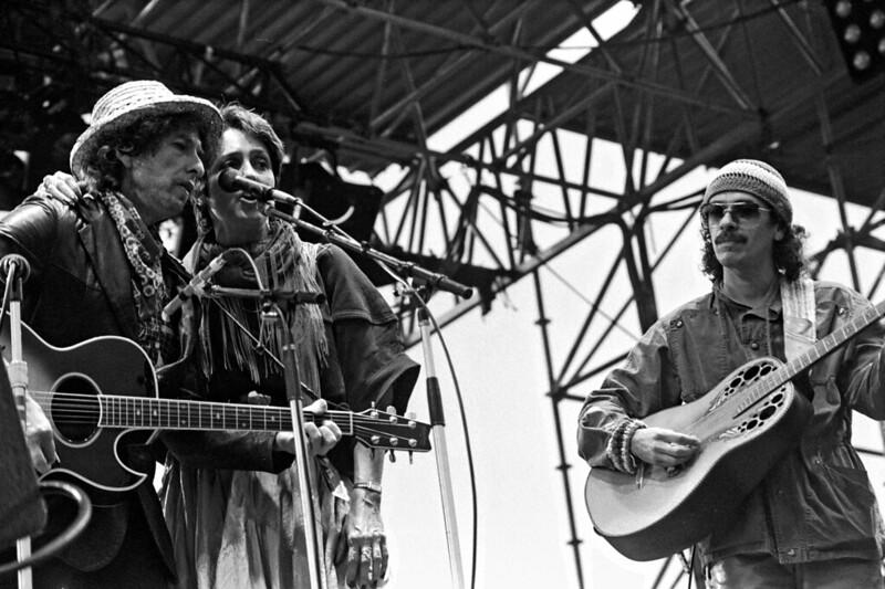 Dylan, Baez e Santana