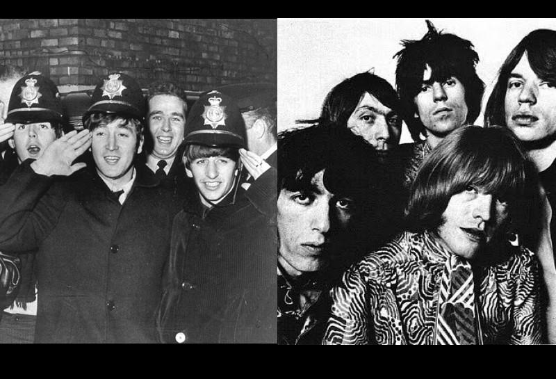 Immagine dei due gruppi londinesi in contrapposizione. Beatles o Rolling Stones